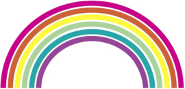 Muursticker regenboog kinderkamer custom met hartjes in regenboogkleuren