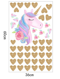 Muursticker unicorn - eenhoorn  en hartjes meisjeskamer / babykamer