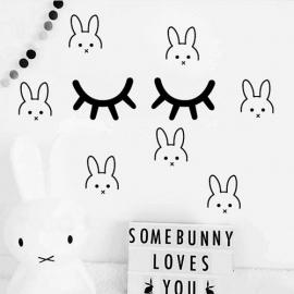 Muursticker konijn print / patroon