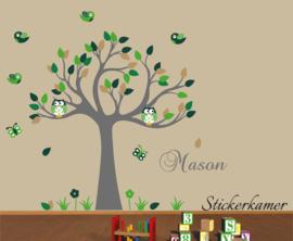 Muursticker boom met uilen en vogels kinderkamer groen thema