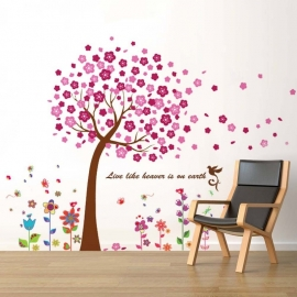 Muursticker roze bloesem boom met kleurrijke bloemen
