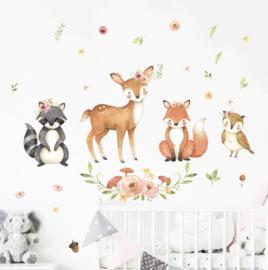 Muursticker schattige bosdieren babykamer