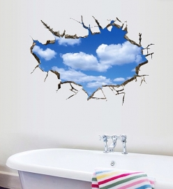 Muursticker 3d wolken stoer kinderkamer jongen