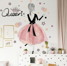 Muursticker prinses roze kinderkamer meisjes