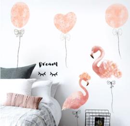 Muursticker flamingo en balonnen roze kinderkamer