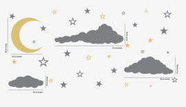 Muursticker maan, wolken en sterren kinderkamer / babykamer