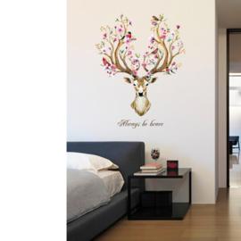 Muursticker  Sika hert kop + quote muurdecoratie slaapkamer