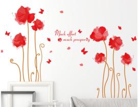 Muursticker rode rozen bloemen planten kamer
