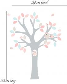 Muursticker boom met uilen en vogels (roze)