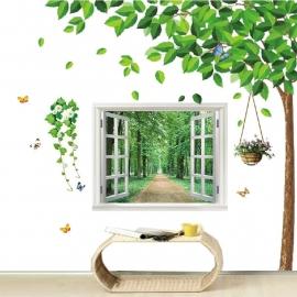 Boom + open raam met uitzicht op bos XL