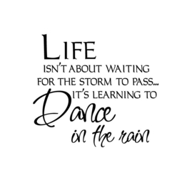 Life isn't about waiting for the rain to pass... It's learning to dance in the rain