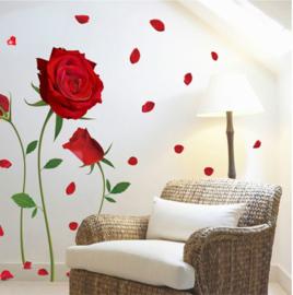 Muursticker roos rood bloemen - planten