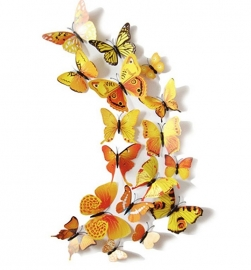 Kleurrijke 3D vlinders geel - 12 stuks - muurdecoratie babykamer