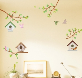 Muursticker takje vogel huisjes kinderkamer