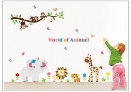 Muursticker safari dieren en beesten mix kinderkamer