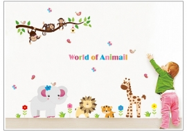 Muursticker afrika dieren en beesten mix kinderkamer