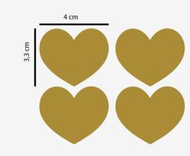 Muursticker hartjes patroon goud 60 stuks