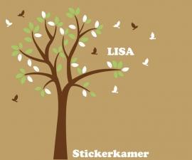 Muursticker boom met vogels en naam (groen/wit)