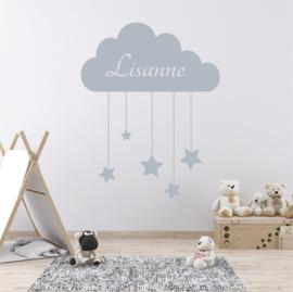 Muursticker wolkje met naam en sterren babykamer