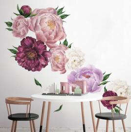Muursticker pioenroos bloemen  slaapkamer muurdecoratie