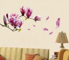 Muursticker magnolia bloem paars