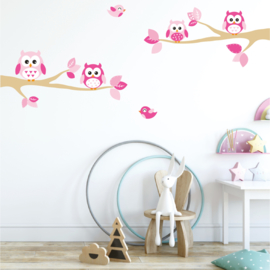 Takken met uilen roze thema XL kinderkamer meisjes