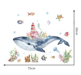 Muursticker walvis - goudvis - sealife