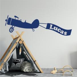 Sticker mural avion avec nom (nuages)