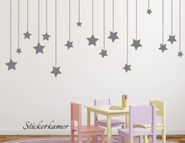Muursticker sterren aan lijn babykamer