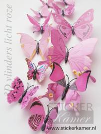 Kleurrijke 3D vlinders licht roze - 12 stuks - muurdecoratie babykamer