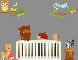 Muursticker dieren in het bos kinderkamer