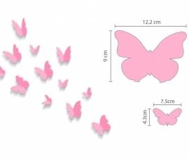 Muursticker safari dieren - beesten +  roze 3d vlinders kinderkamer