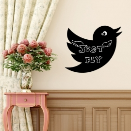 Muursticker vogel krijtbord blackboard sticker
