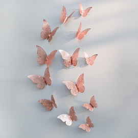 12 stuks rose / gouden 3d vlinders muurdecoratie (1)