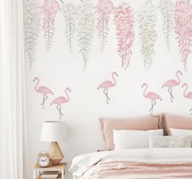 Muursticker bloemen wisteria en flamingo XL roze en wit