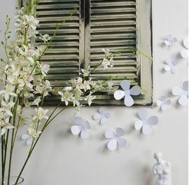 Muursticker losse 3d bloemen (wit)
