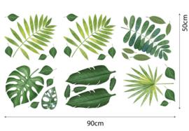 Muursticker tropisch palmblad groen blaadjes 31-delig