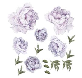 Muursticker pioen rozen / bloemen lila - paars