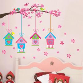 Muursticker vogelhuisjes roze babykamer - kinderkamer