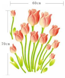Muursticker tulpen bloemen wanddecoratie