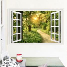 Muursticker raam uitzicht bos - bomen - natuur
