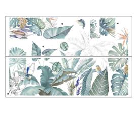 Muursticker decoratieve palmbladen groen botanisch