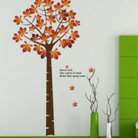 Muursticker boom herfst bruin