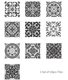 Luxe tegel stickers met sierlijk patroon zwart en wit