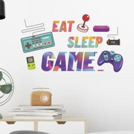 Muursticker gamer / gaming - eat sleep game jongenskamer