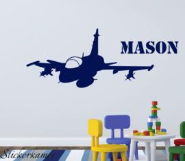 Muursticker vliegtuig straaljager + naam kinderkamer