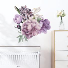 Muursticker pioenrozen bloemen paars