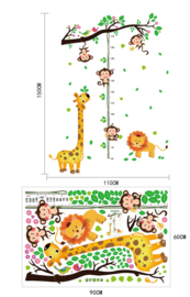 Muursticker giraffe groeimeter met aapjes babykamer - kinderkamer