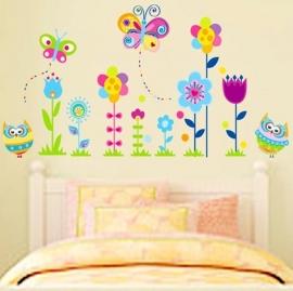Muursticker  roze bloemen, vlinders en uilen kinderkamer