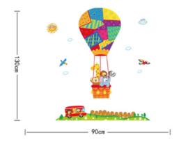 Muursticker luchtballon dieren - beesten kinderkamer